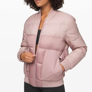 Lululemon Roam Far Wool Bomber in Pink